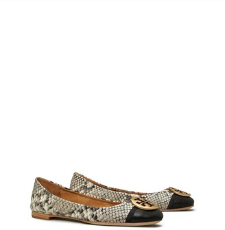Tory Burch Minnie Cap-Toe Travel Ballet Flat, Embossed Leather