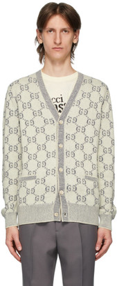 Gucci Off-White and Navy Jacquard GG Cardigan