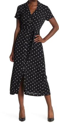 Catherine Malandrino Polka Dot Short Sleeve Midi Dress