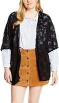 New Look Curves Women's Flounce Lace Kimono Plain 3/4 Sleeve Cardigan