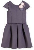 Zoë Ltd Cap-Sleeve Scuba Party Dress, Gray, Size 4-6