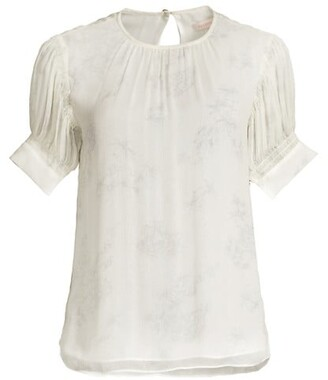 Puff-Sleeve Silk Toile Blouse