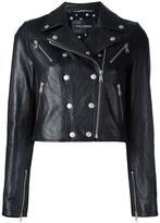 Dolce & Gabbana cropped leather jacket - women - Silk/Goat Skin/Spandex/Elastane - 38