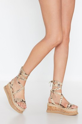 Nasty Gal Womens Snake My Number Wrap Sandals - Grey - 3
