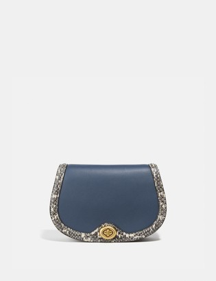 Coach Saddle Belt Bag In Colorblock With Snakeskin Detail