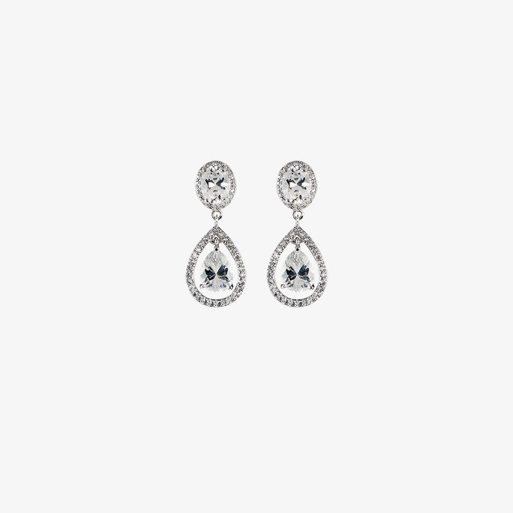 Thumbnail for your product : Apples & Figs Silver-Plated Pear Cut Crystal Drop Earrings