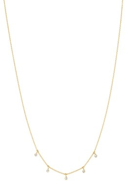 Zoë Chicco 14K Yellow Gold Dangling Diamond Choker Necklace, 16