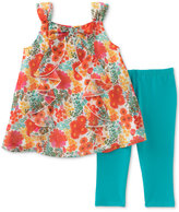 Kids Headquarters 2-Pc. Ruffled Floral-Print Tunic & Capri Pant Set, Little Girls (2-6X)