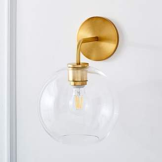 "west elm Sculptural Glass Globe Sconce - Clear (8.5"")"