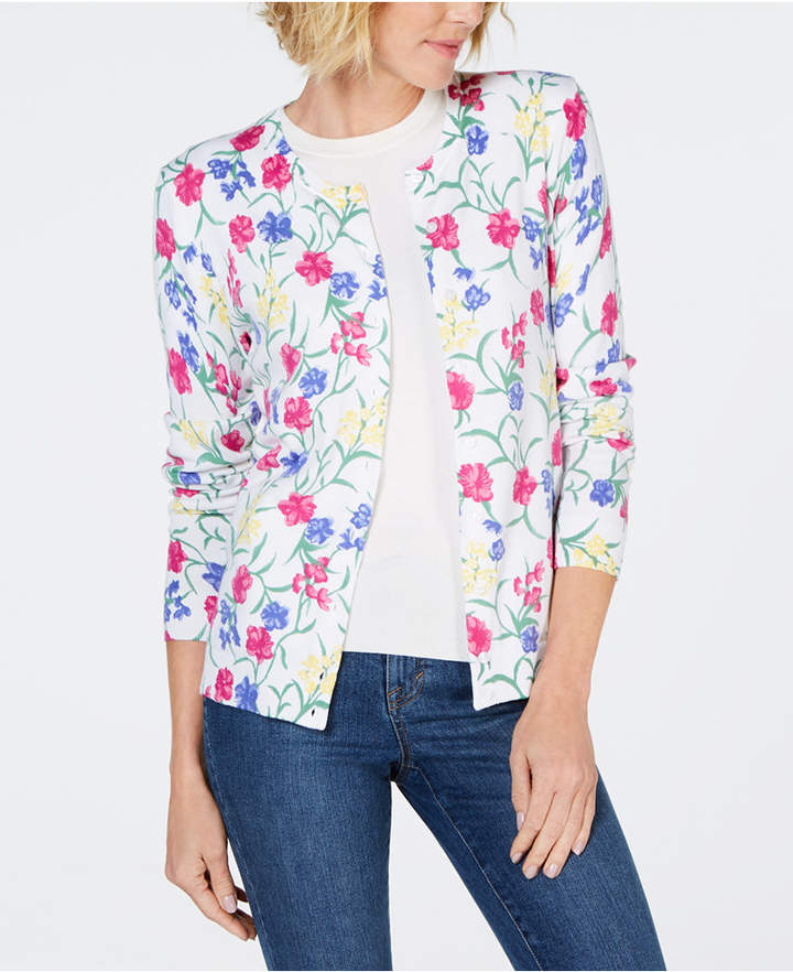 Karen Scott Floral-Print Cardigan Sweater