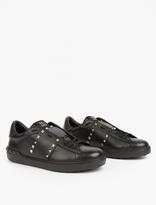 Valentino Black Leather Rockstud Sneakers