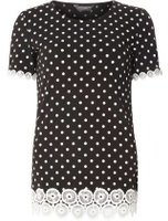Dorothy Perkins Womens **Tall Black Circle Trim Detail T-Shirt- Black