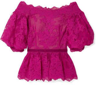 Marchesa Off-the-shoulder Velvet-trimmed Corded Lace Peplum Top - Fuchsia