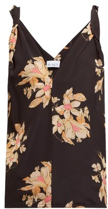 Raey Twist-strap Vintage Floral-print Silk Cami Top - Womens - Black Print
