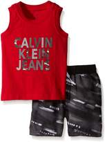 Calvin Klein Baby Boys' Jersey Muscle Top and Microfiber Shorts