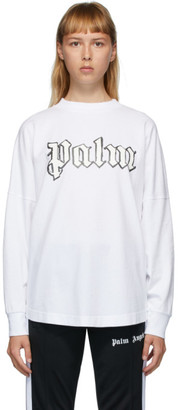 Palm Angels White Logo Long Sleeve T-Shirt