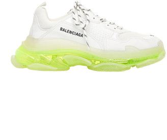 Balenciaga Triple S Clear Sole Sneakers in White & Fluo Yellow | FWRD