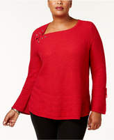 Style&Co. Style & Co Plus Size Lace-Up Lantern-Sleeve Sweater, Created for Macy's