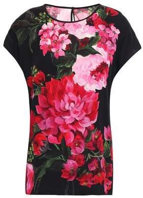 Dolce & Gabbana Floral-print Silk-blend Crepe De Chine Top