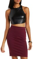 Charlotte Russe Open Back Faux Leather Crop Top