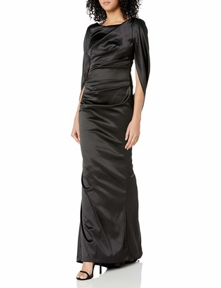 Nicole Miller Women's Drape Back Cape Sleeve Gathered Waist Fitted Mermaid Gown