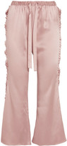 Maggie Marilyn - The Good Knight Pleated Silk-satin Flared Pants - Pastel pink