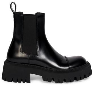 Balenciaga Tractor Leather Lug Sole Ankle Boots
