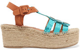 Paloma Barceló Honoria Cracked And Smooth Leather Espadrille Wedge Sandals