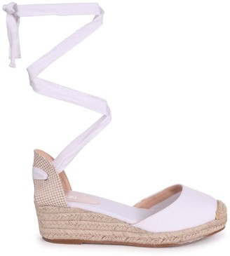 Linzi MELROSE - White Canvas Closed Toe Espadrille Low Wedge With Tie Up Straps