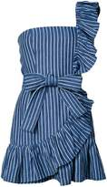 Alexis striped print frill trim one shoulder dress