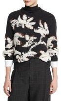 Brunello Cucinelli Piuma Floral Pullover Sweater, Onyx/Vanilla