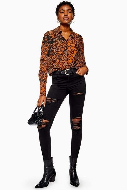 Topshop Womens Petite Black Super Ripped Jamie Jeans