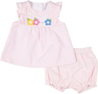 Florence Eiseman Girl's Seersucker Dress w/ Flowers & Bunny Applique, Size 3-24 Months