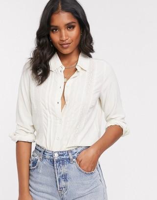 Vero Moda copenhagen studio lace detail blouse-Beige