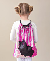 Whitney Elizabeth Girls' Backpacks hot - Hot Pink & Black Reversible Sequin Drawstring Backpack - Girls