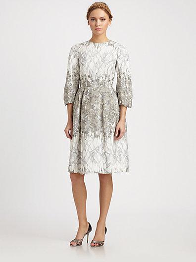 HONOR Silk Cady Garden Print Dress