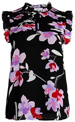 Calvin Klein Floral Ruffle Tieneck Sleeveless Top