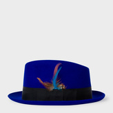 Paul Smith Men's Cobalt Blue Wool-Felt Trilby With Feather