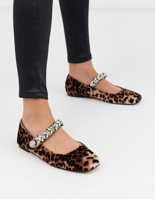 Asos DESIGN League mary jane ballet flats with rhinestones in leopard