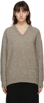 MAX MARA LEISURE Taupe Alpaca Eligio V-Neck Sweater