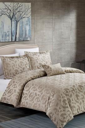 California Design Den Full/Queen Ornate Scroll Comforter Set - Taupe