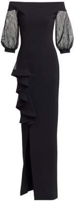 Chiara Boni Nezerra Mesh-Sleeve Column Gown