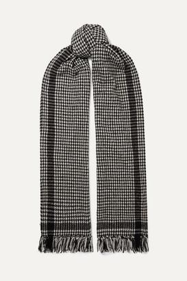 Saint Laurent Fringed Houndstooth Wool-blend Scarf - Black