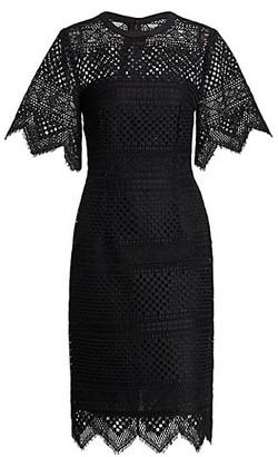 Carolina Herrera Crochet Lace Bell-Sleeve Sheath Dress