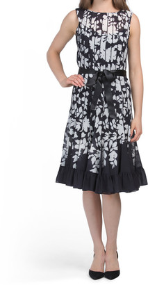 Printed Sleeveless Pintuck Dress