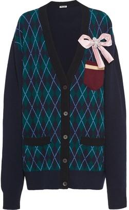 Miu Miu Bow Detail Argyle Cardigan