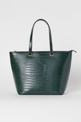 H&M Crocodile-patterned Shopper - Turquoise