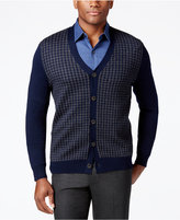 Club Room Men's Merino Blend Houndstooth Cardigan, Classic Fit