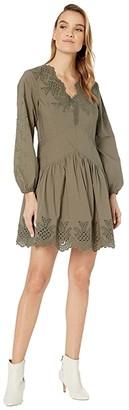 La Vie Rebecca Taylor Long Sleeve Embellished Poplin Dress (Sable) Women's Dress