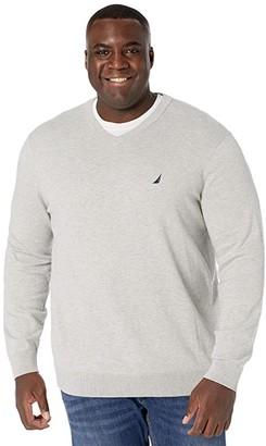 Nautica Big Tall Sweater V-Neck (Medium Grey Heather) Men's Clothing